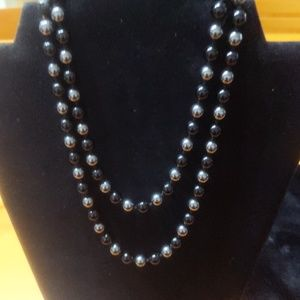 Vintage long black and pewter necklace
